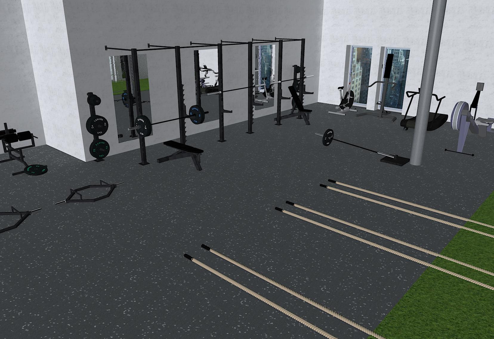 Fitnessstudio-mit-Wand